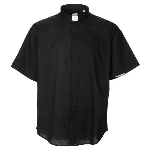 STOCK Clergy shirt, short sleeves in black poly cotton 1