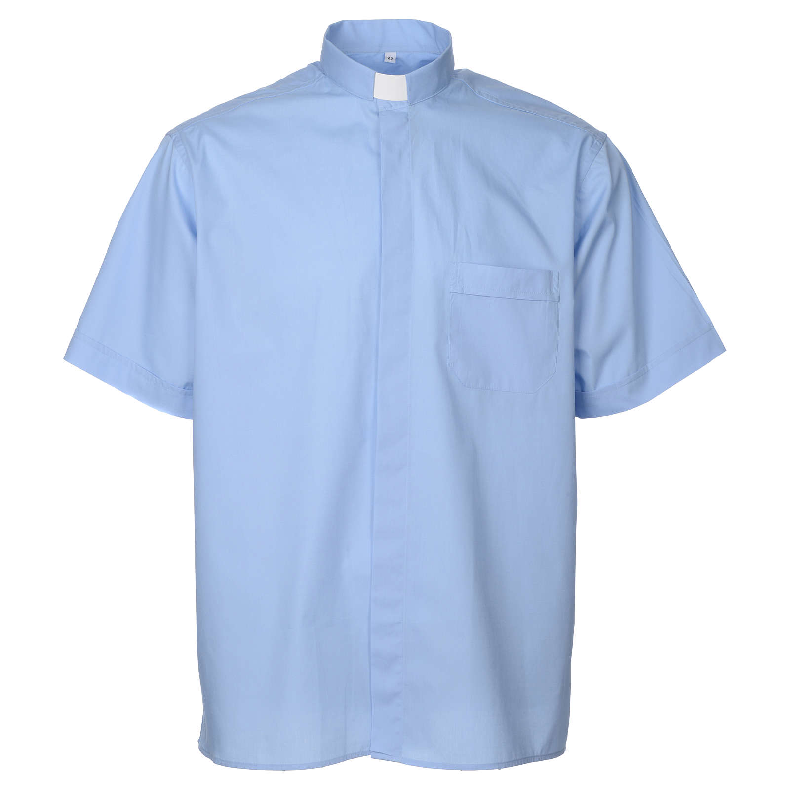 STOCK Clergy shirt, short sleeves in light blue mixed cotton 4