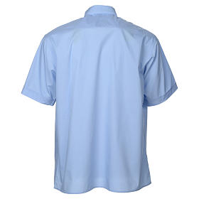 STOCK Clergy shirt, short sleeves in light blue mixed cotton s2