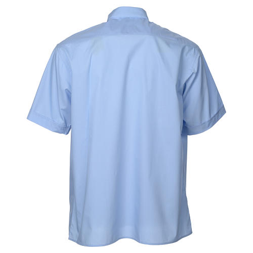 STOCK Clergy shirt, short sleeves in light blue mixed cotton 2