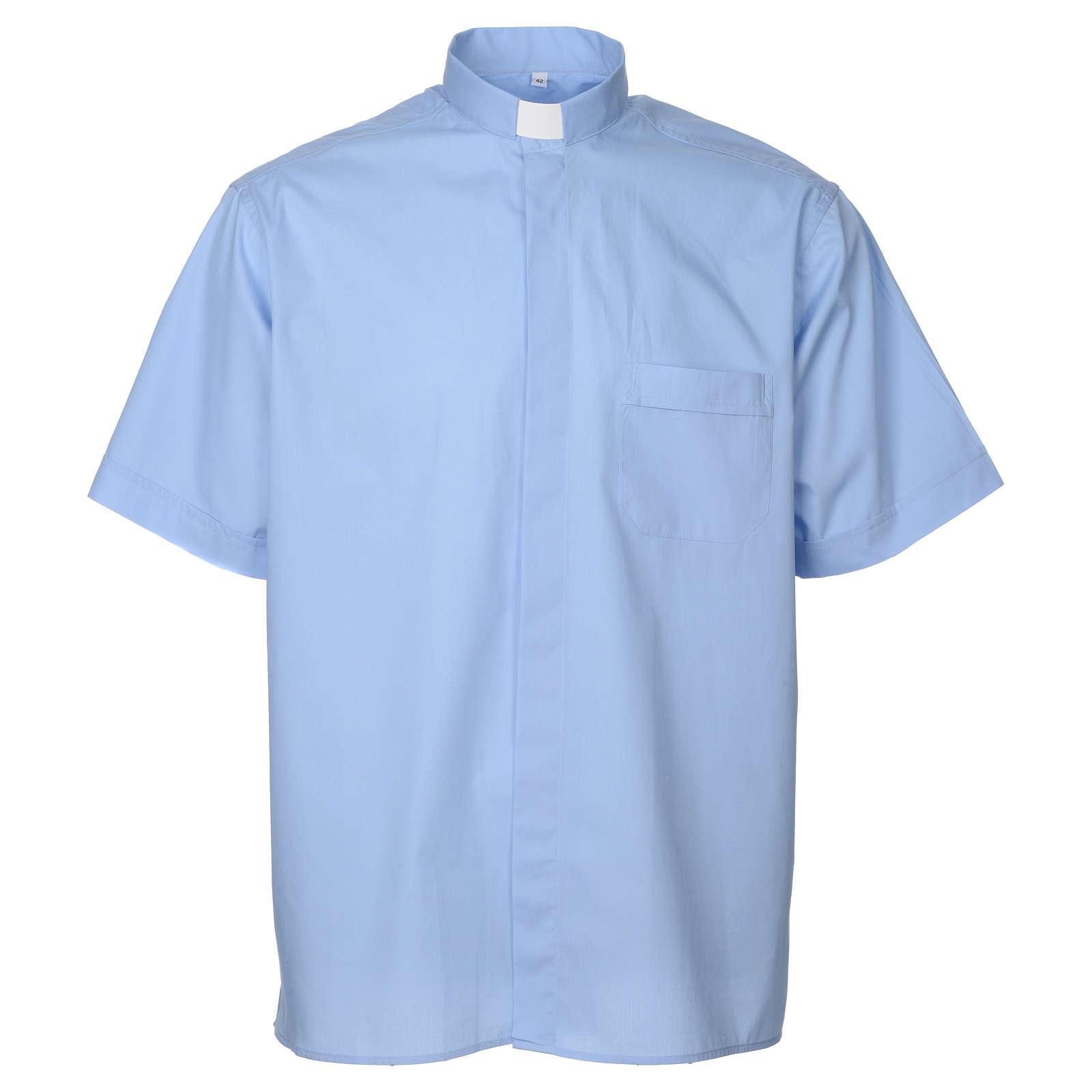 STOCK Camisa clergyman manga curta misto azul claro 4