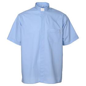 STOCK Camisa clergyman manga curta misto azul claro s1