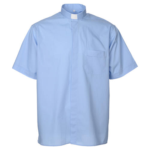 STOCK Clergy shirt, short sleeves in light blue mixed cotton 1