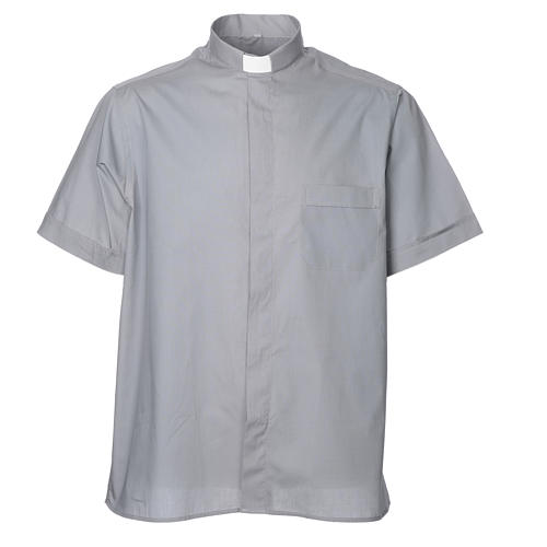 STOCK Clergy shirt, short sleeves in light grey mixed cotton 1