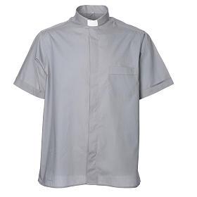 Camisas Clergyman: STOCK Camisa manga corta  mezcla de algodón gris claro