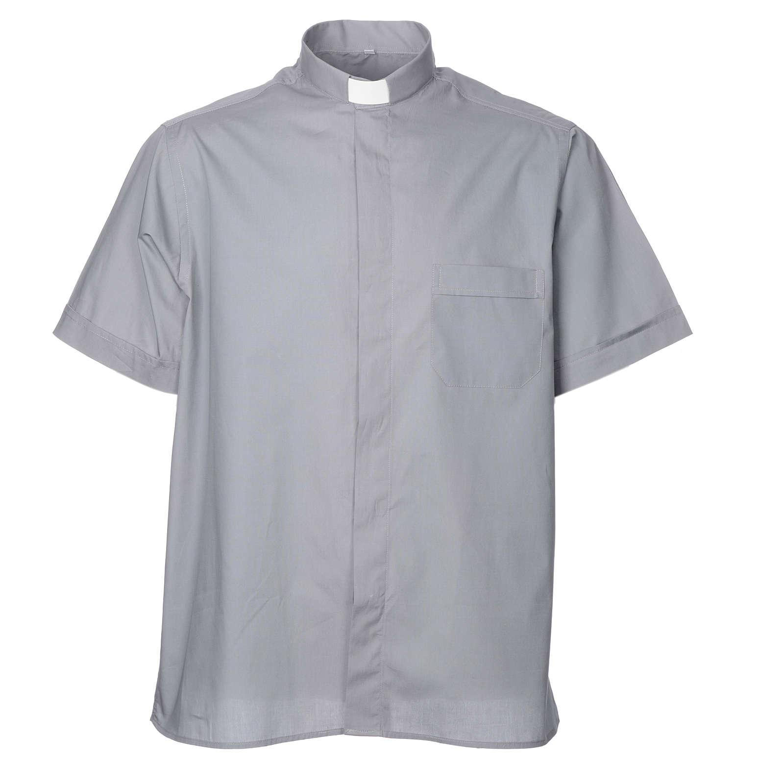 STOCK Camicia clergyman manica corta misto grigio chiaro 4
