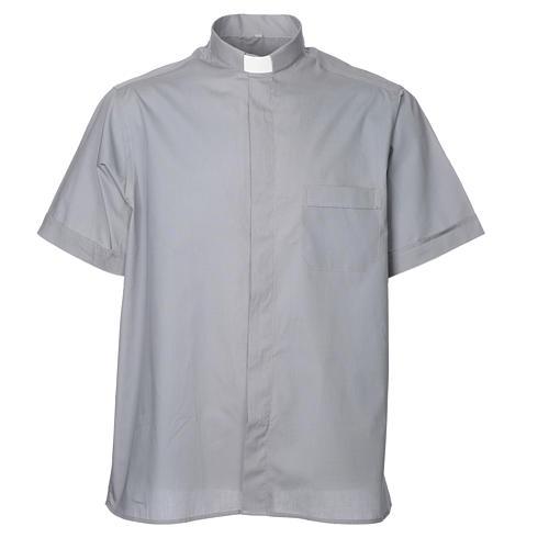 STOCK Camicia clergyman manica corta misto grigio chiaro 1