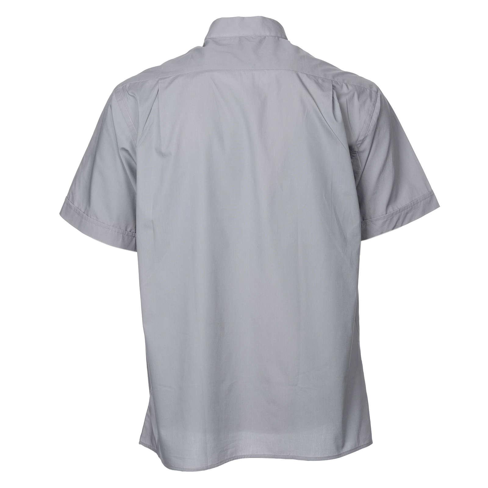STOCK Camisa clergyman manga curta misto cinzento claro 4
