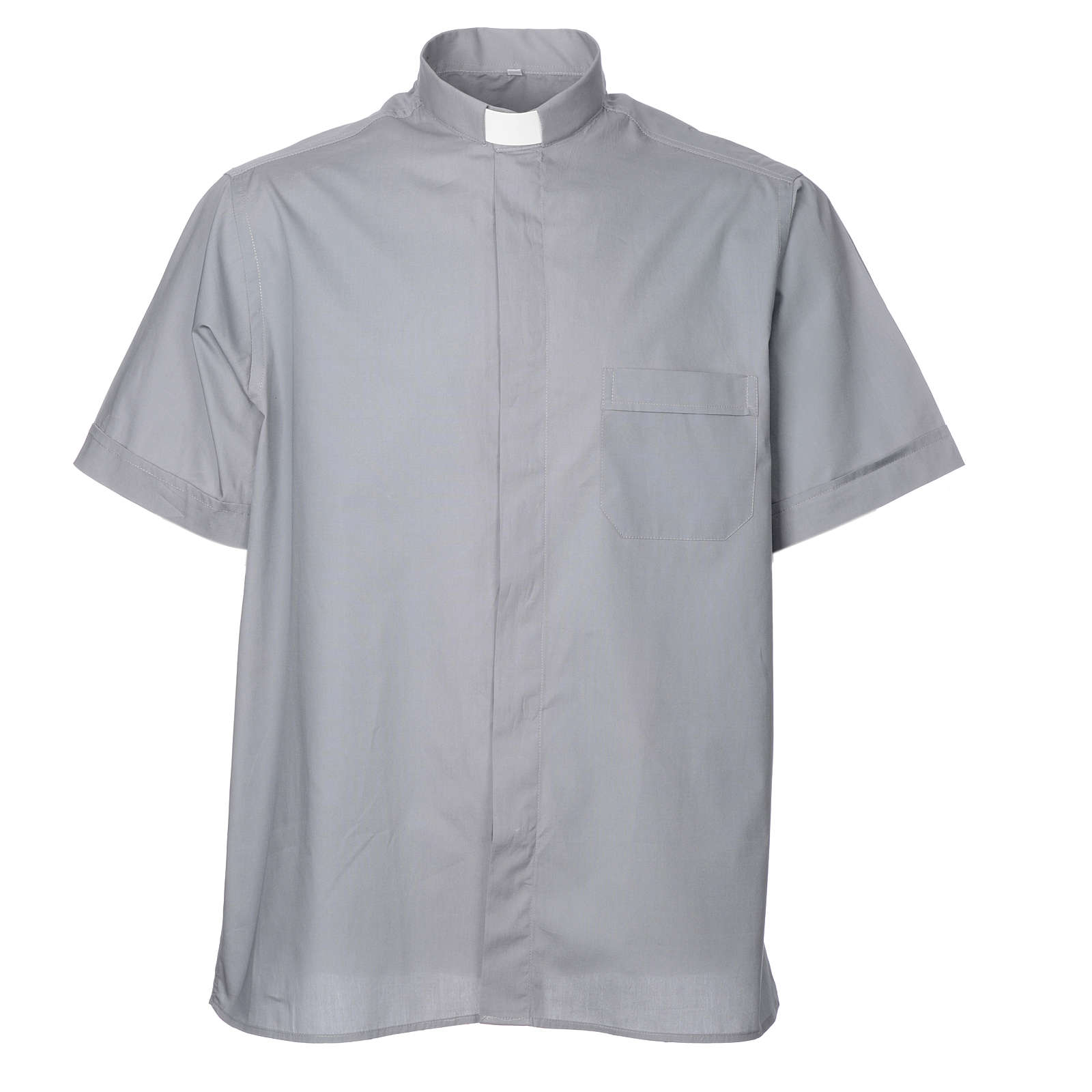 STOCK Clergy shirt, short sleeves in light grey mixed cotton 4