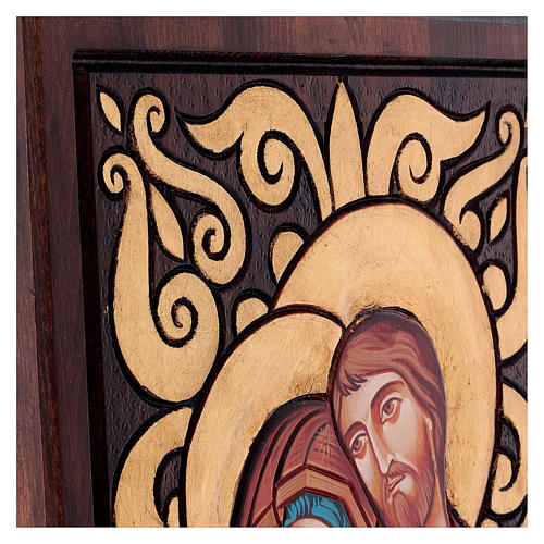 Icona Sacra Famiglia fondo intarsiato 3