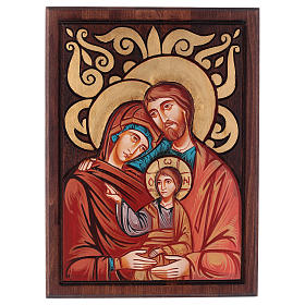 Rumanian hand-painted icons: Holy Family, inlayed backdrop