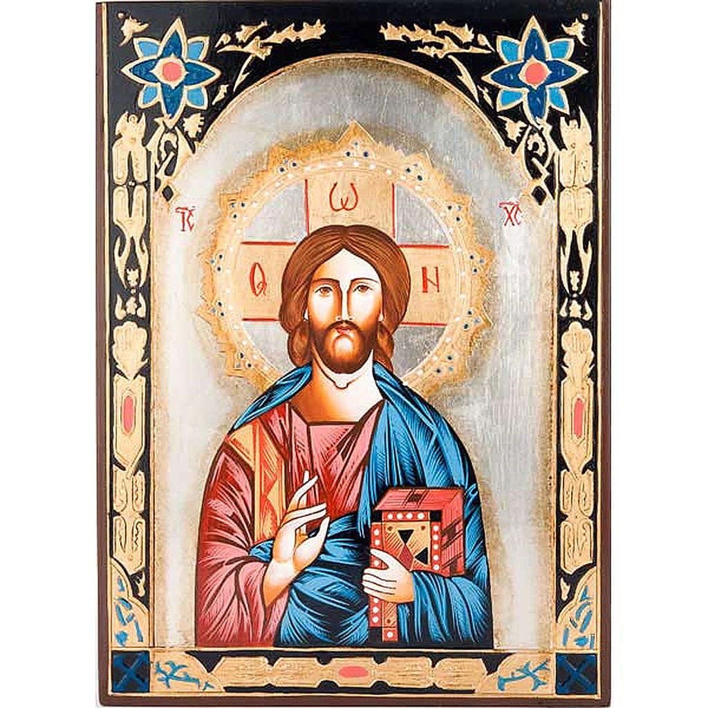 Icona Cristo Pantocratico decori colorati 4