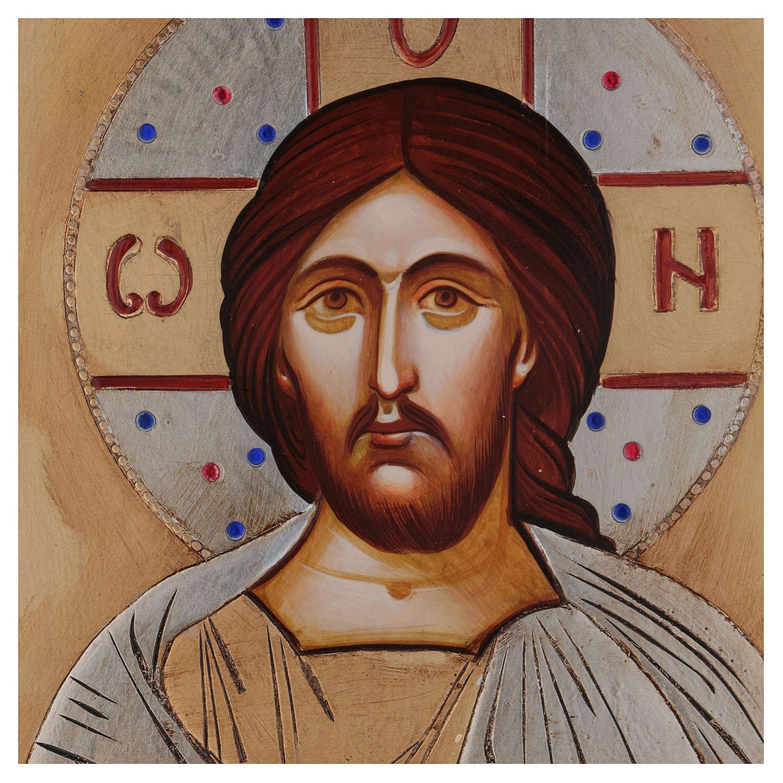 Icona Cristo Pantocratico  dorata strass 4