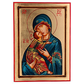 Rumanian hand-painted icons: Byzantine style icon of the Virgin of Vladimir