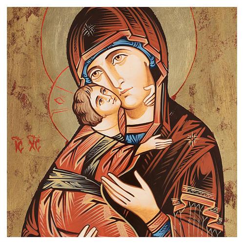Icona Vergine di Vladimir bordo irregolare
