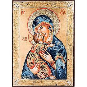 Icona Vergine di Vladimir greca dorata s1