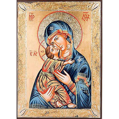 Icona Vergine di Vladimir greca dorata 1