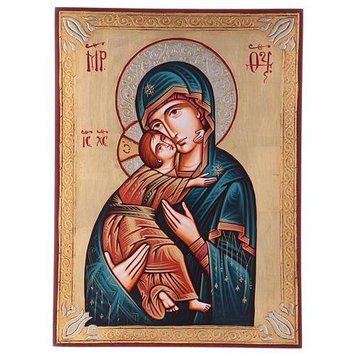Icona Vergine di Vladimir greca dorata
