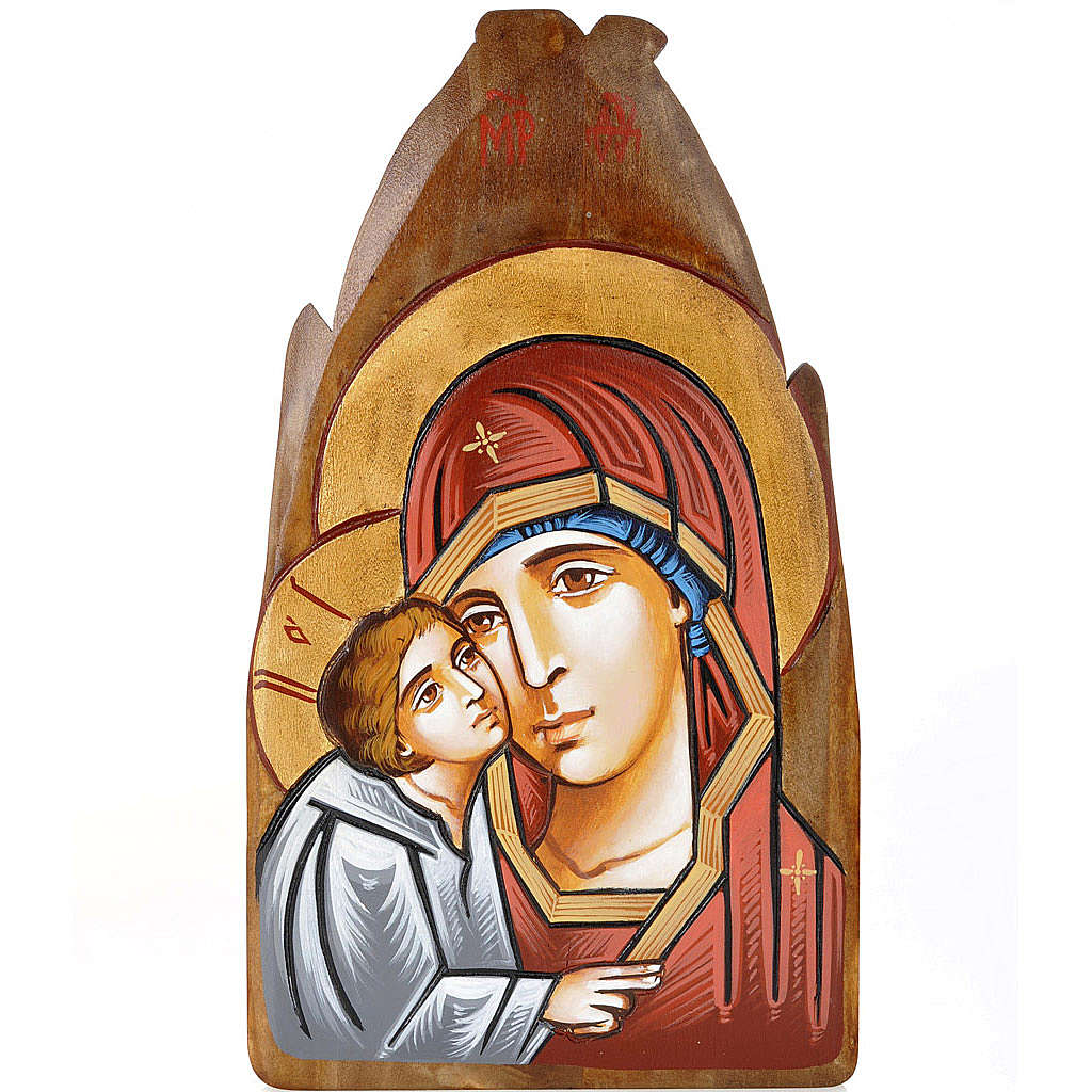 Eleousa Virgin on irregular wood plaque 4