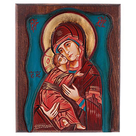 Rumanian hand-painted icons: Virgin of Vladimir with wood frame