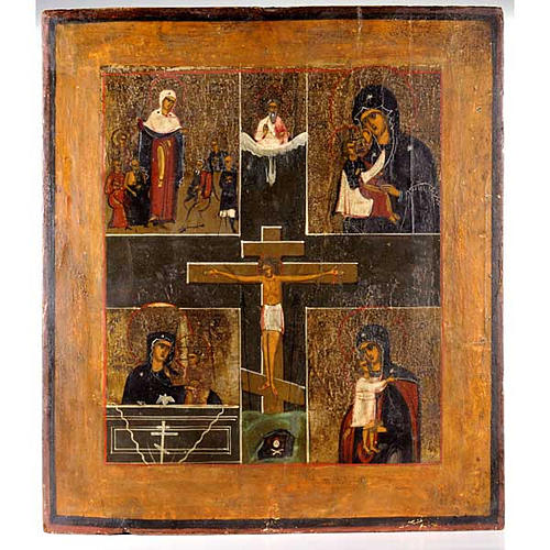 Ancient Russian Icon- Crucifix with Madonna 1