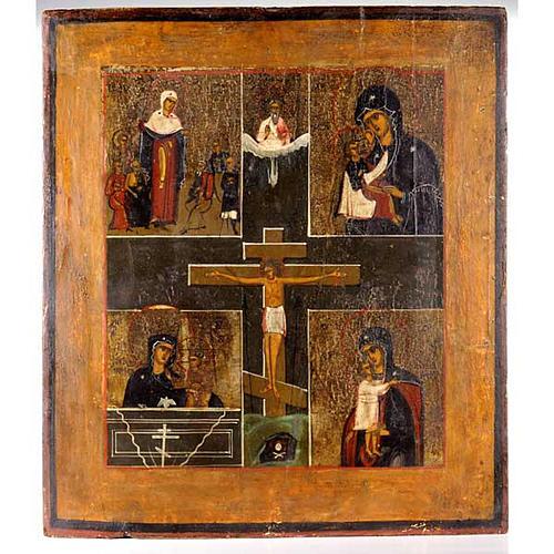 Ícono Ruso antiguo Crucifijo con Virgen 1
