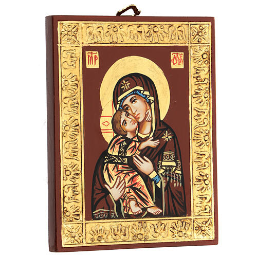 Icona Vergine di Vladimir bordo oro