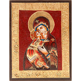 Rumanian hand-painted icons: Virgin of Vladimir, golden profile