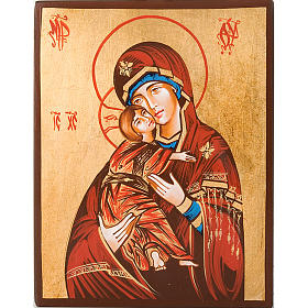 Rumanian hand-painted icons: Mother of God Vladimir with red mantle