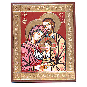 Rumanian hand-painted icons: Icon of the Holy Family with relief