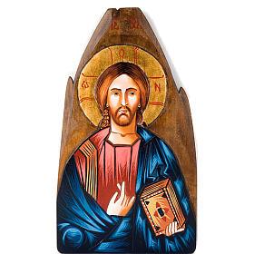 Icona Cristo Pantocratore rumena dipinta a mano s1