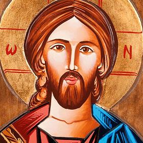 Icona Cristo Pantocratore rumena dipinta a mano s2
