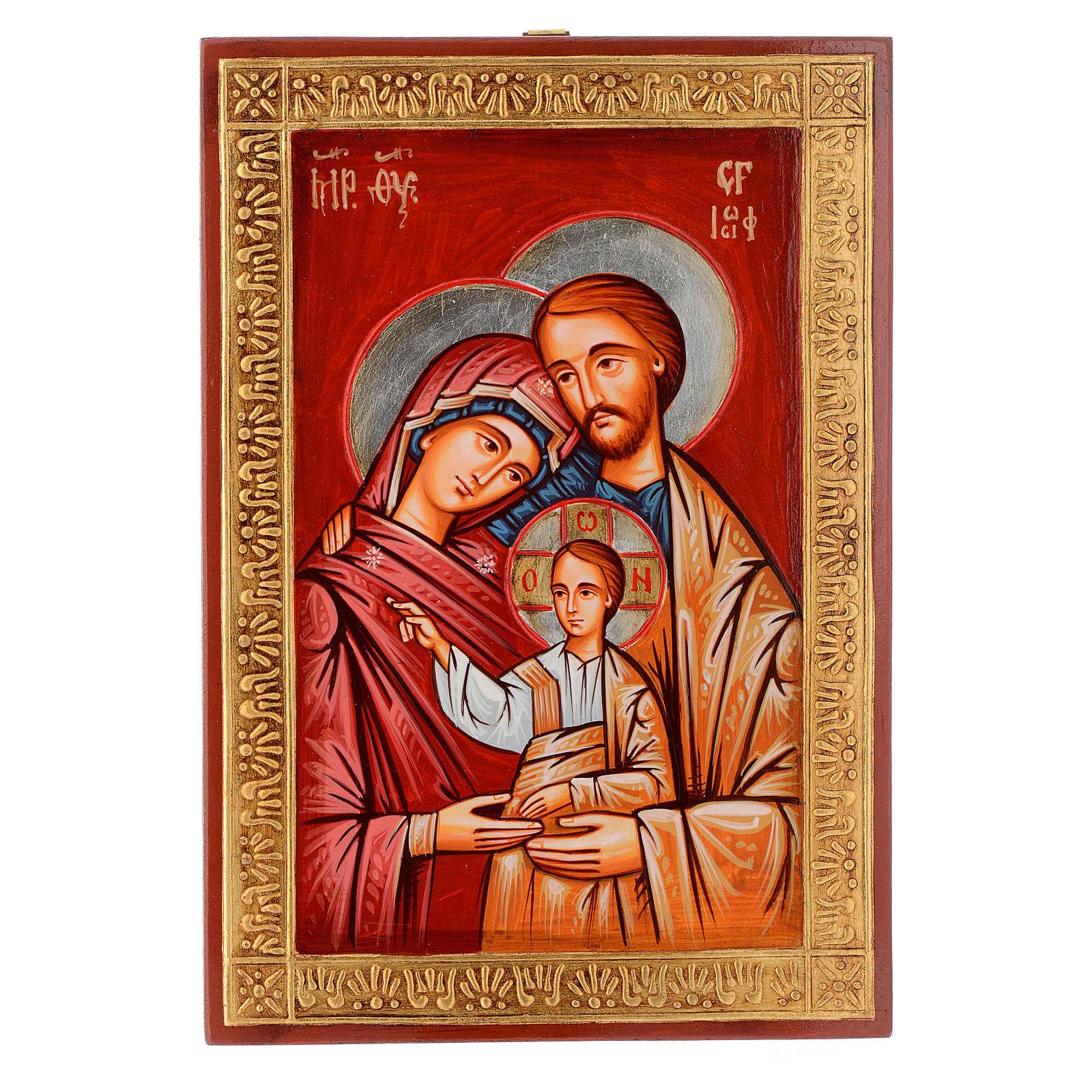 Dettagli Su Icona Sacra Famiglia Su Tavola Legno