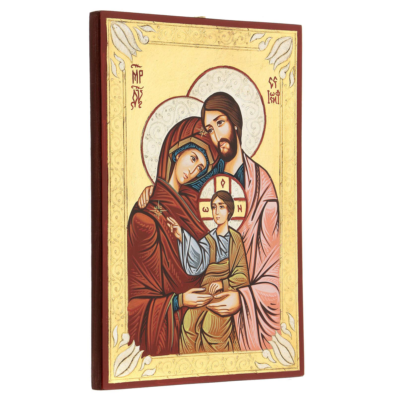 Ícono sacro pintado a mano Sagrada Familia 4