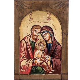 Icona Sacra Famiglia legno intarsiato s1