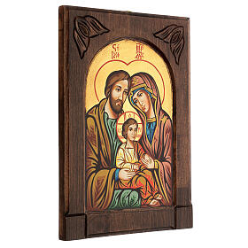 Icona Sacra Famiglia legno intarsiato s3