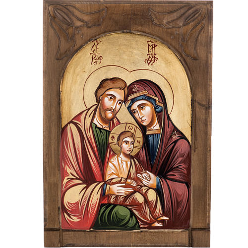 Icona Sacra Famiglia legno intarsiato 1