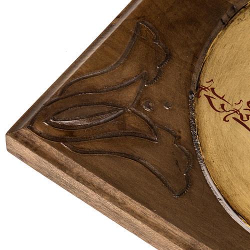 Icona Sacra Famiglia legno intarsiato 3