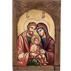Rumanian hand-painted icons: Icon of the Holy Family inlayed wood