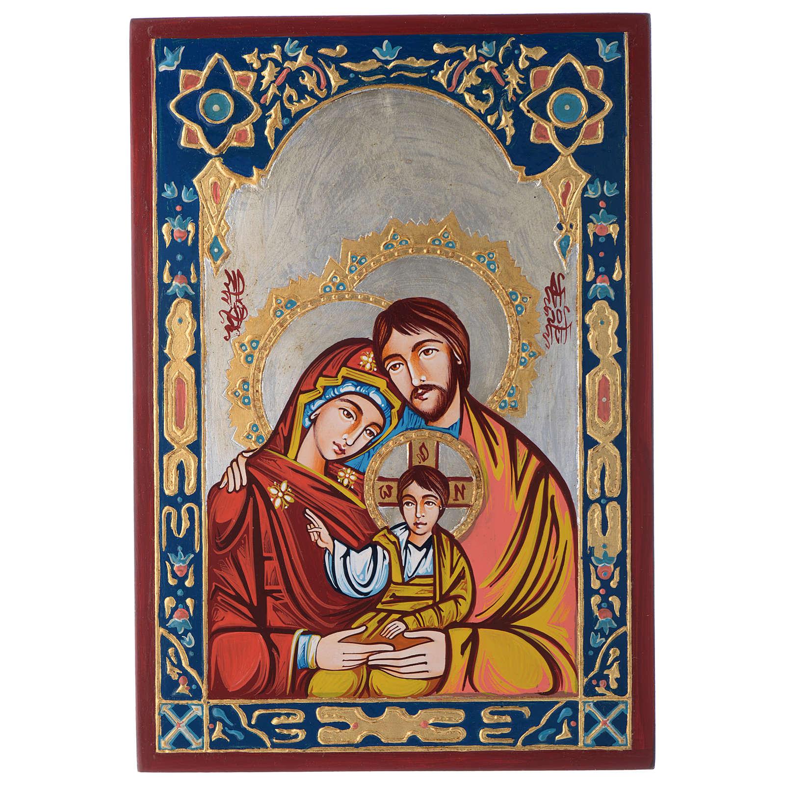 Icona Sacra Famiglia decori colorati 4