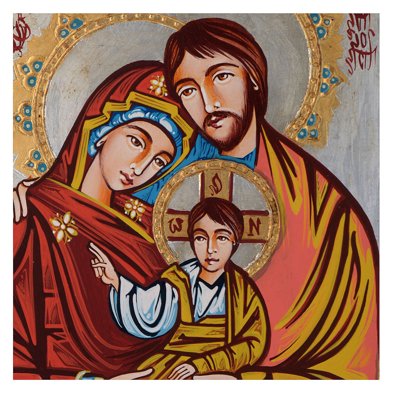 Icon of the Holy Family, coloured decorations 4