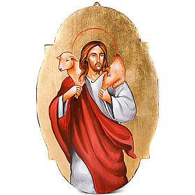 Icône de Jésus le bon pasteur, ovale s1
