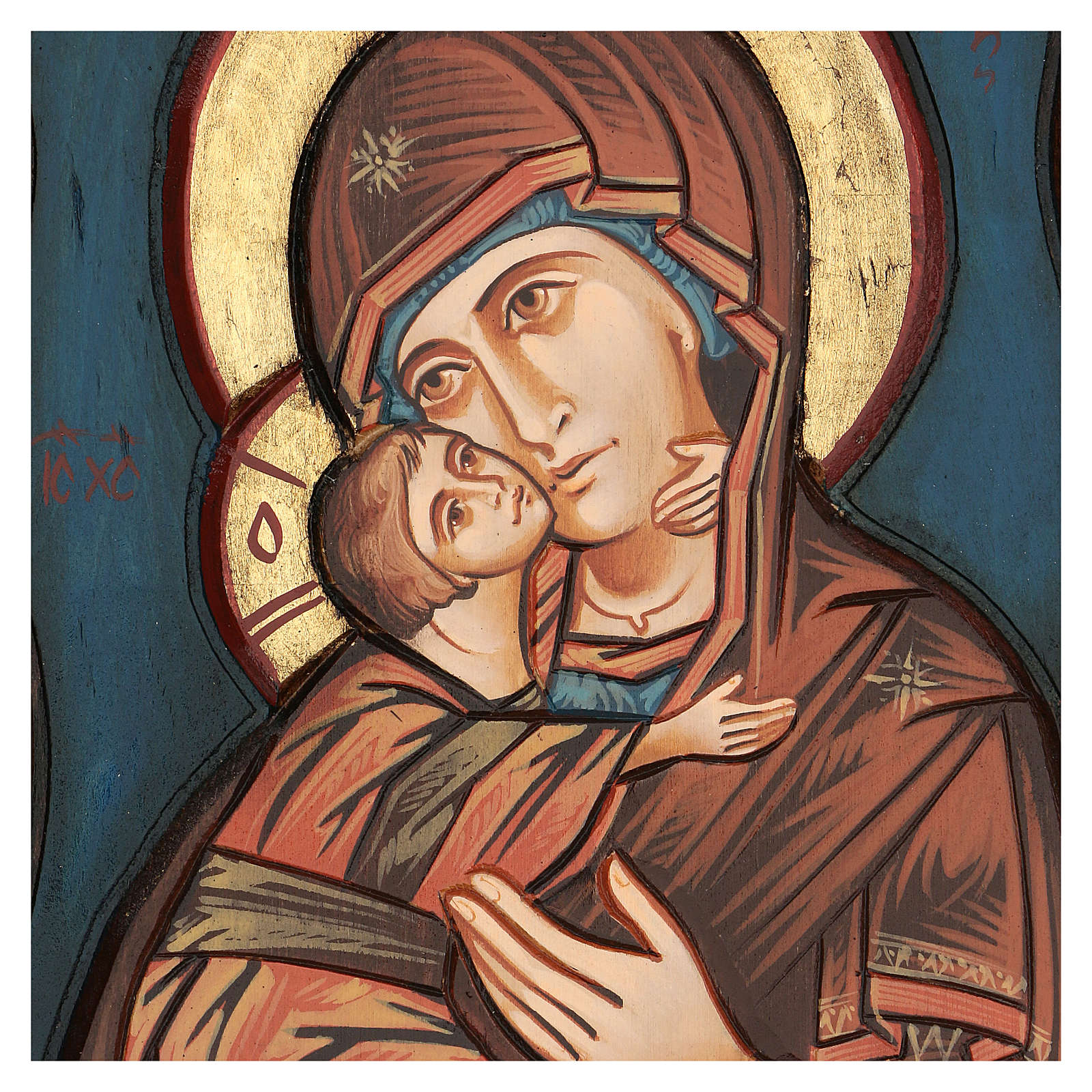 Vierge de Vladimir, fond bleu 4