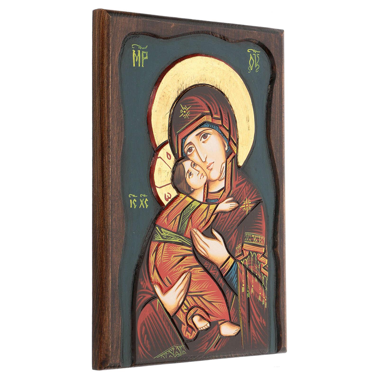 Icona Vergine di Vladimir fondo blu 4