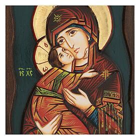 Icona Vergine di Vladimir fondo blu s2