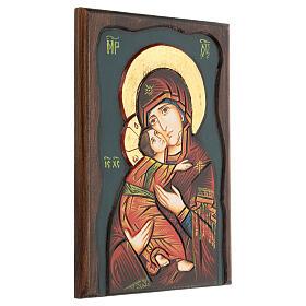 Icona Vergine di Vladimir fondo blu s3
