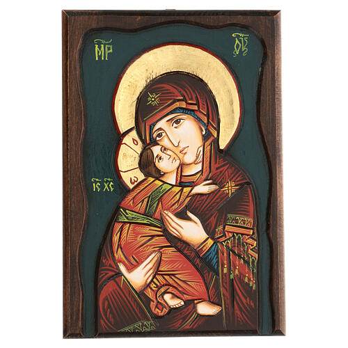 Icona Vergine di Vladimir fondo blu