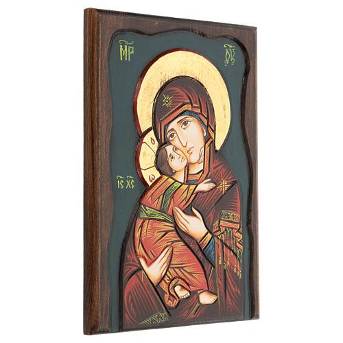 Icona Vergine di Vladimir fondo blu 3