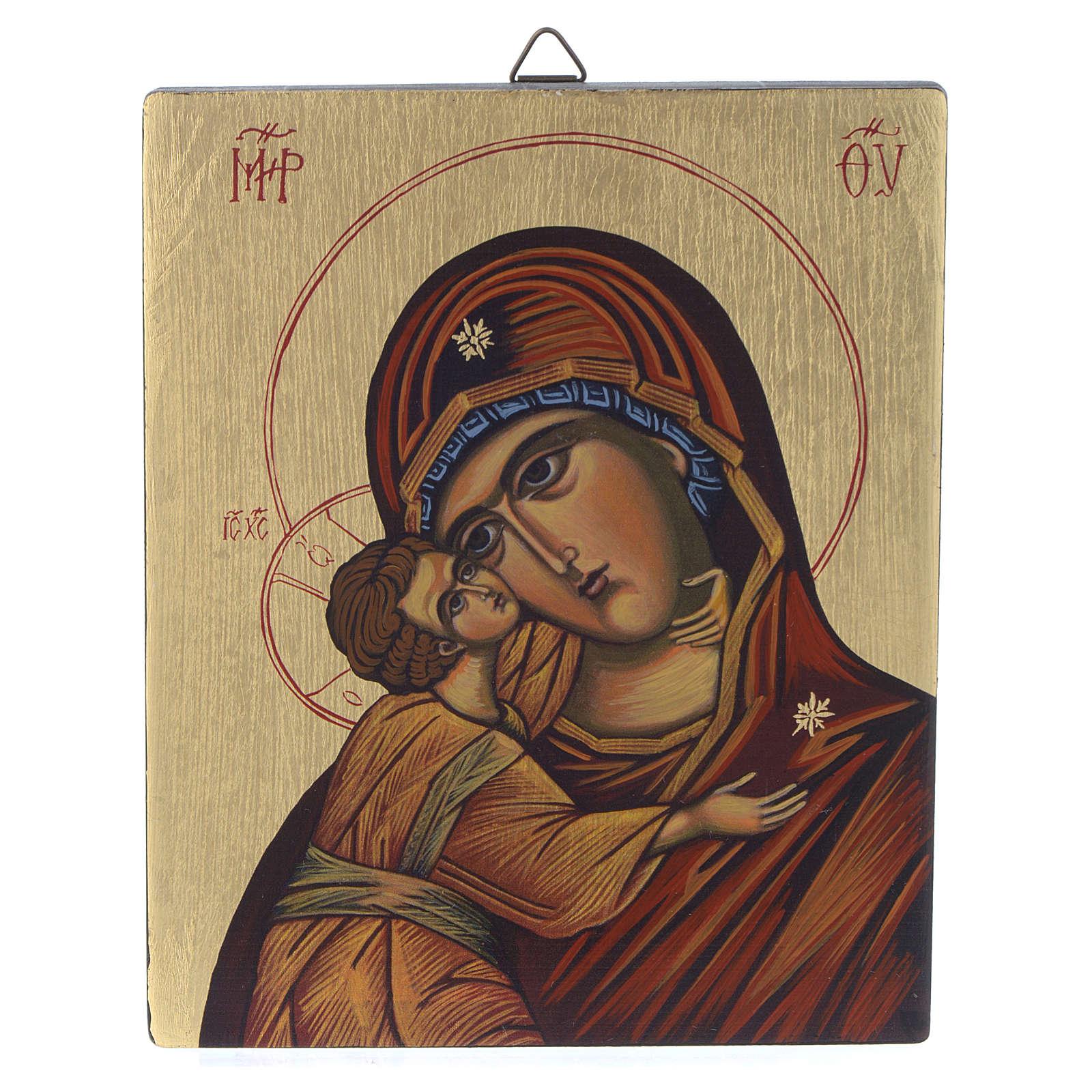 Icona bizantina Madonna di Vladimir 14x10 cm 4