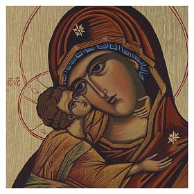 Icona bizantina Madonna di Vladimir 14x10 cm s2